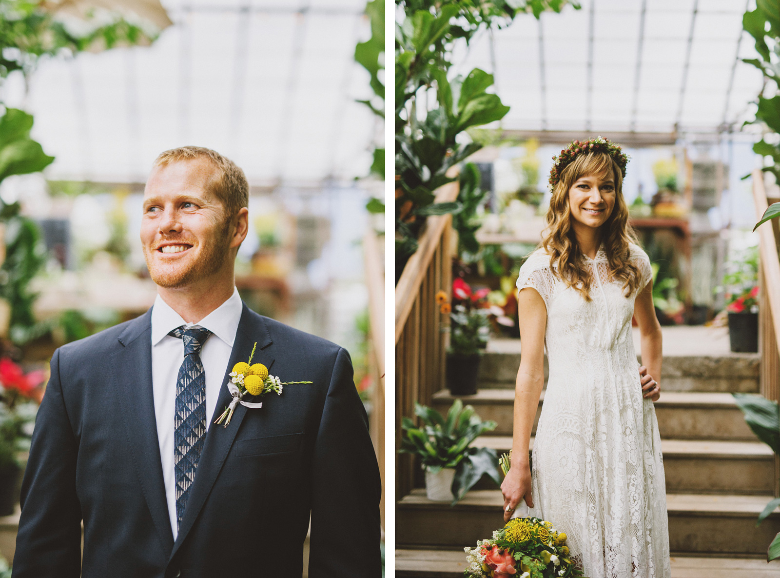 Close-up portraits in the Versailles Garden Nursery | Castaway Portland Wedding