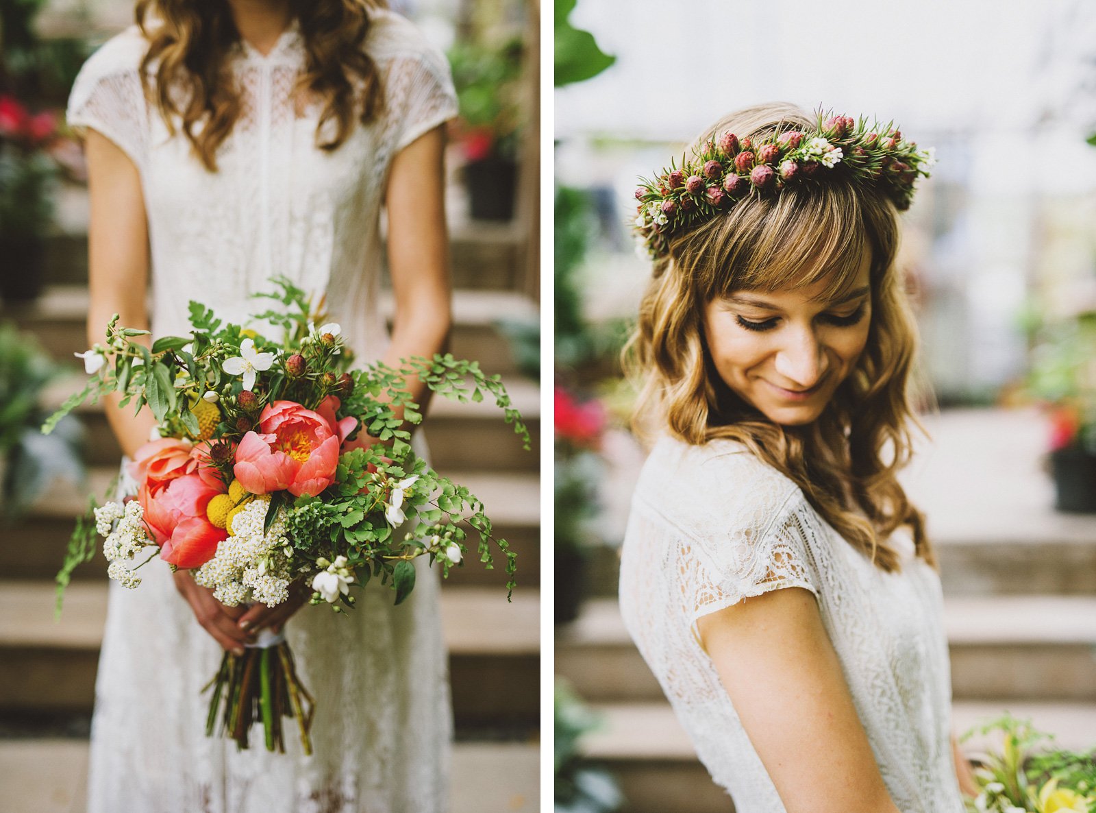 Bridal portraits inside the Versailles Garden greenhouse | Castaway Portland Wedding