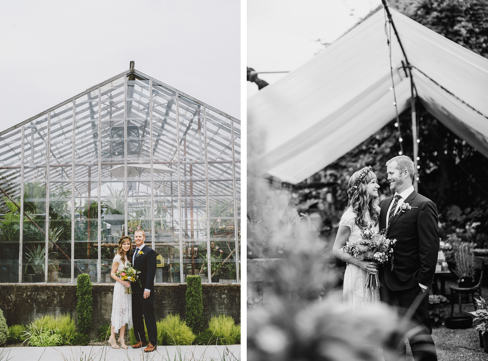 Bride and Groom at Versailles Garden greenhouse | Castaway Portland Wedding