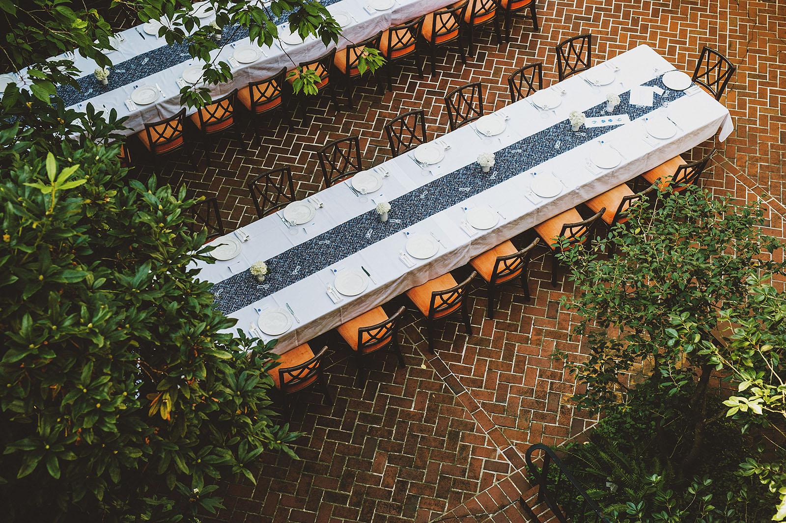 Table settings on the patio   Portland Town Club Wedding