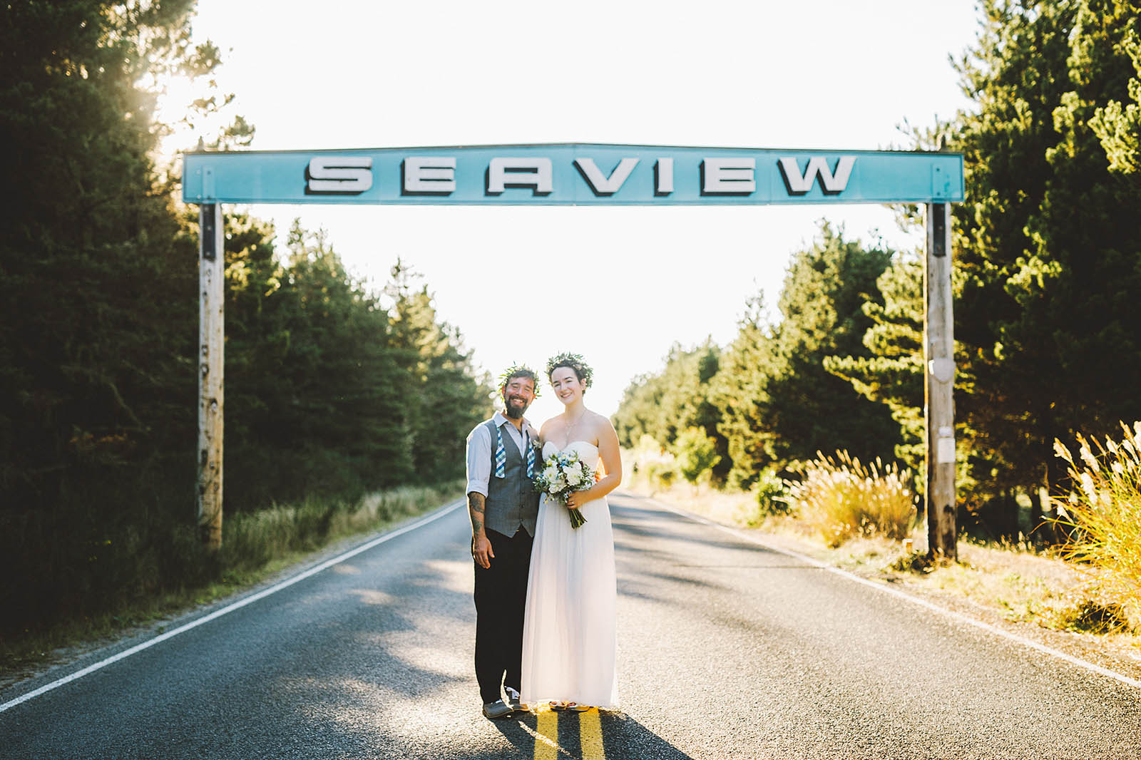 Portraits under the Seaview sign | SouWester Lodge Wedding