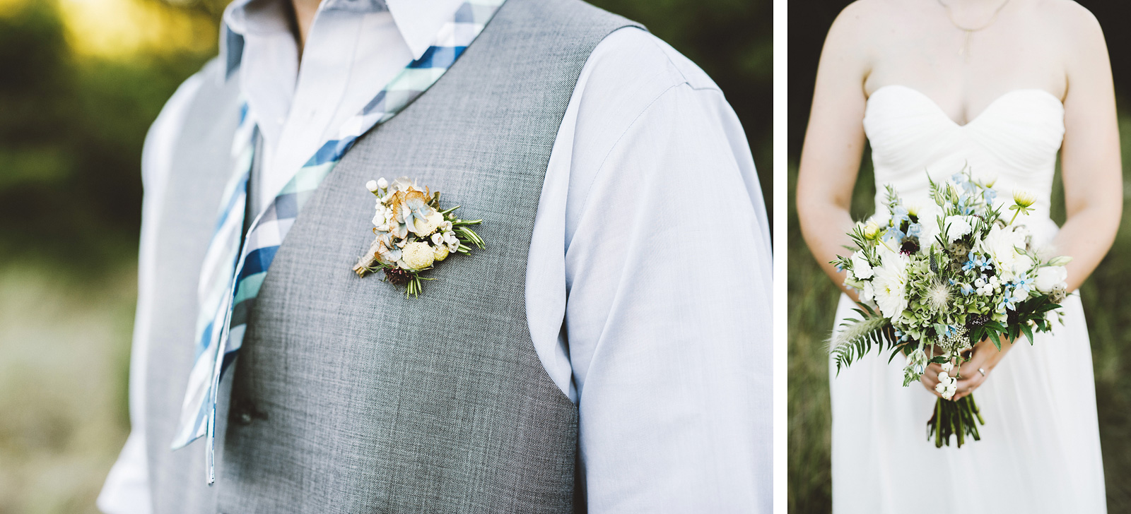 Detail shots of the bouquet and boutonniere | SouWester Lodge Wedding