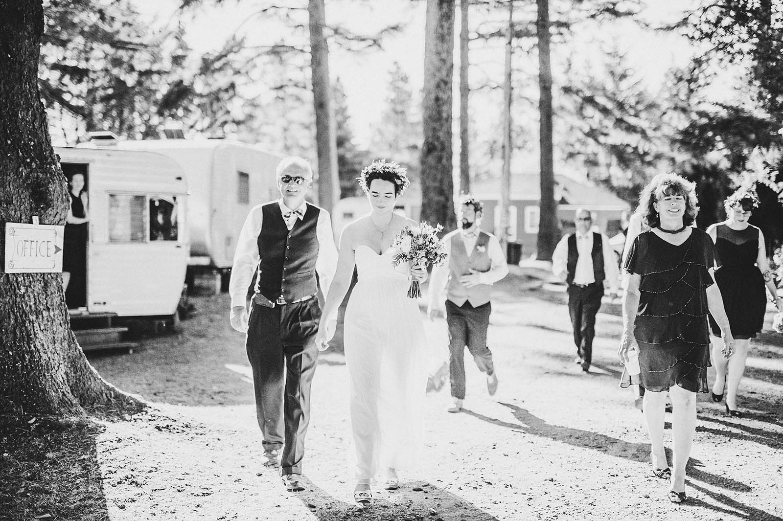 Walking to reception | SouWester Lodge Wedding