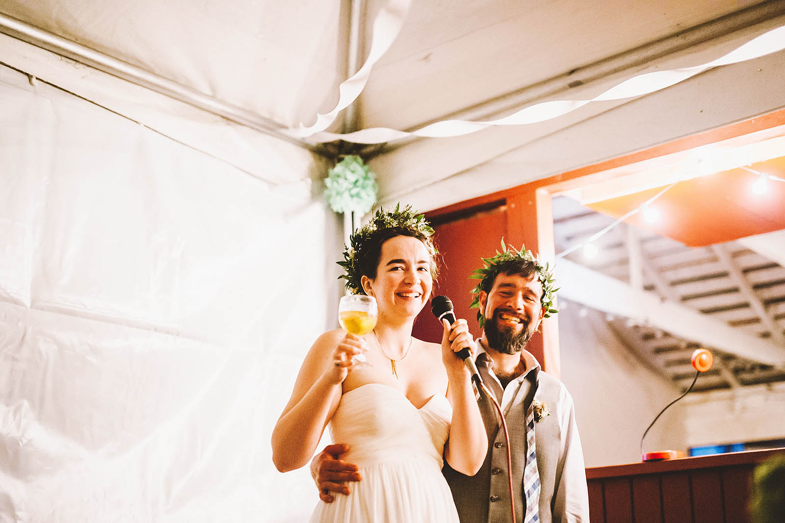 Bride and Groom toasting | SouWester Lodge Wedding