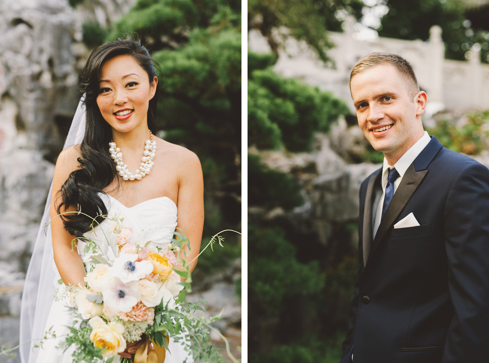 Portraits near the tea house | Lan Su Chinese Garden Wedding