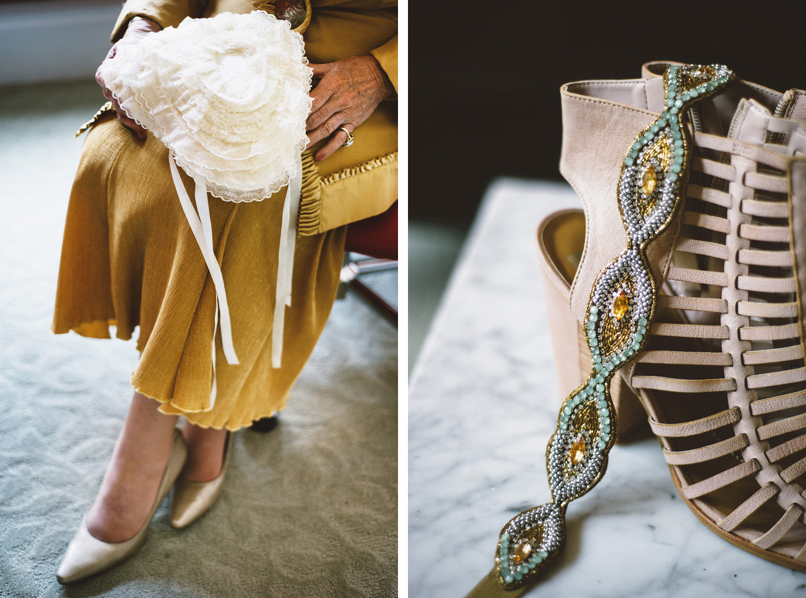 Bride's shoes and ring pillow | San Francisco City Hall Wedding