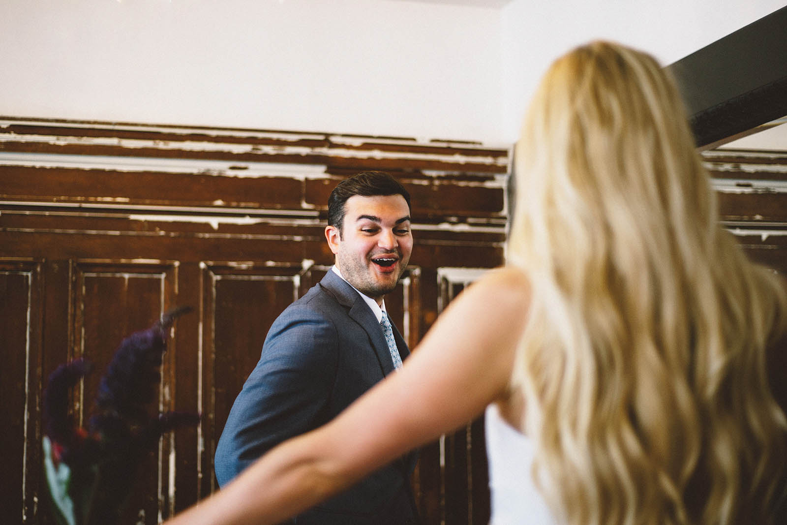 Groom's reaction at the First Look | San Francisco City Hall Wedding