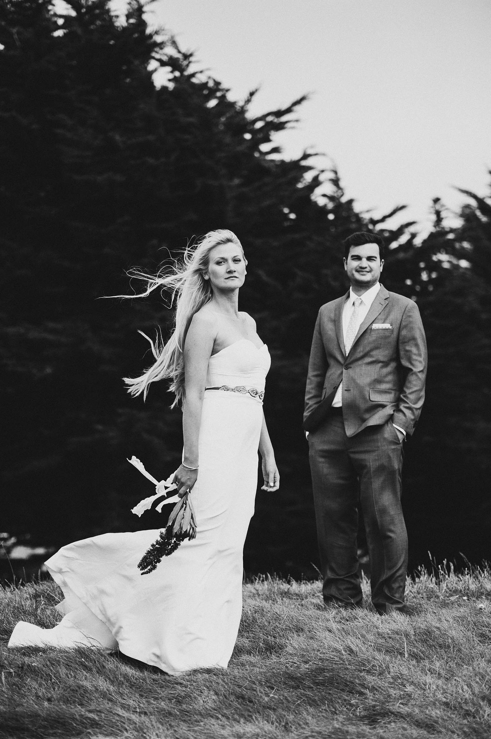 Portrait of Bride and Groom at the beach | San Francisco City Hall Wedding