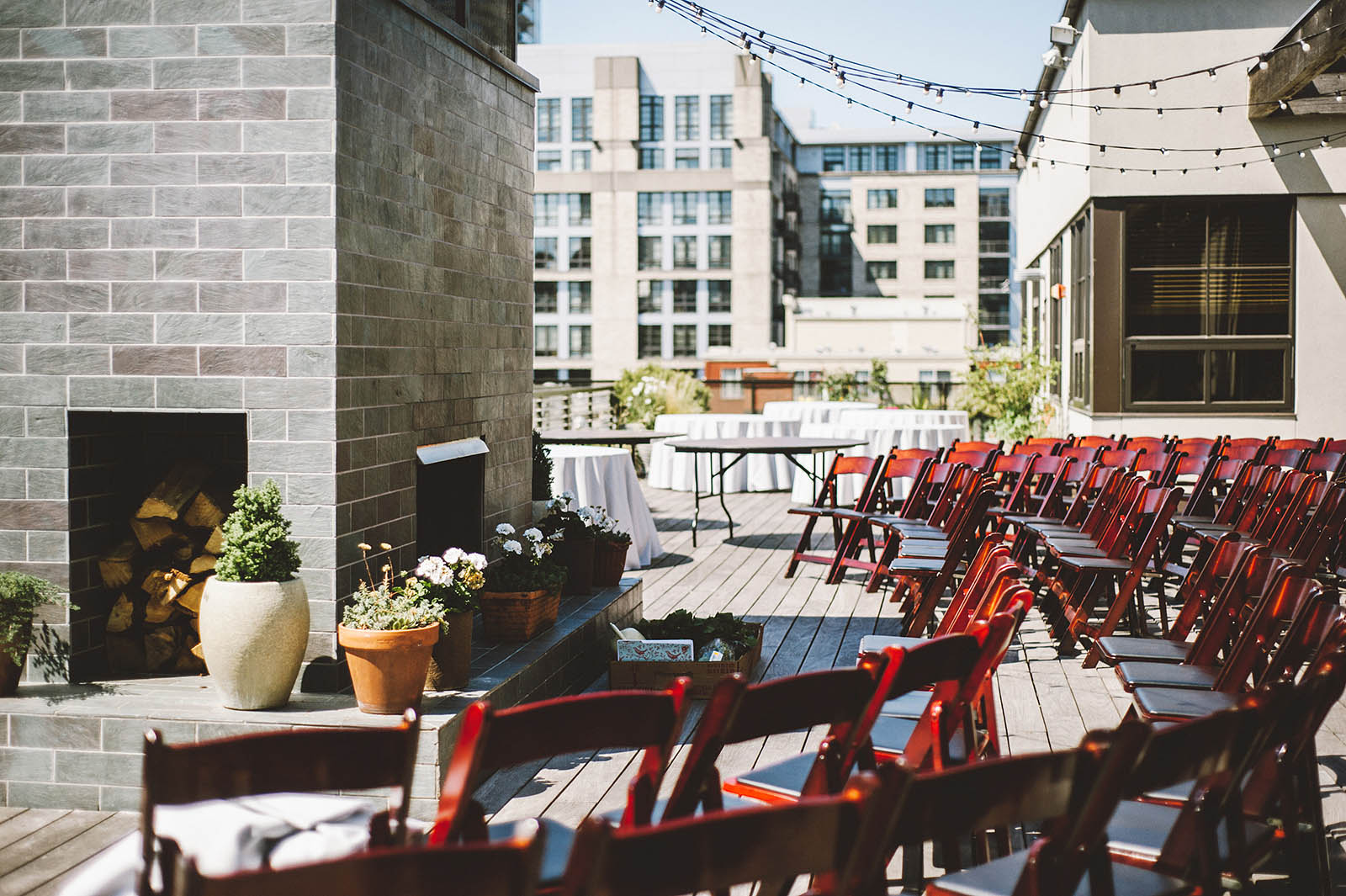 Seating arrangement for the ceremony | Ecotrust Rooftop Wedding in Downtown PDX