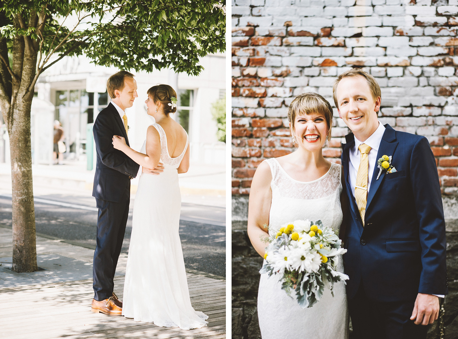 Portraits of Bride and Groom outside Tanner Springs Park | Ecotrust Rooftop Wedding in Downtown PDX