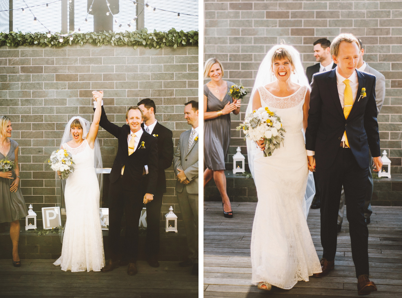 Bride and Groom walking down the aisle | Ecotrust Rooftop Wedding in Downtown PDX