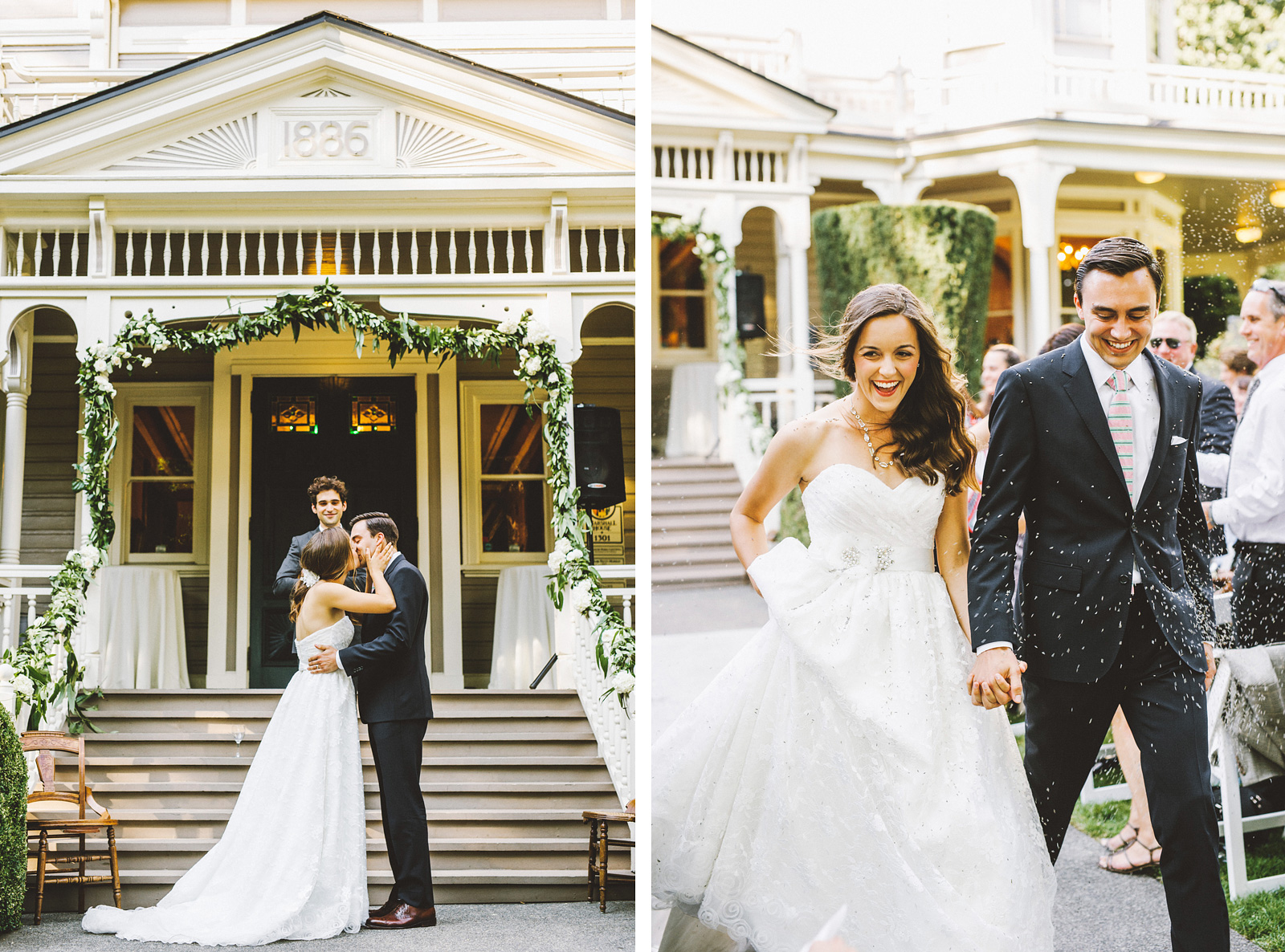 Bride and Groom's first kiss and lavender throw | Fort Vancouver Wedding in Washington