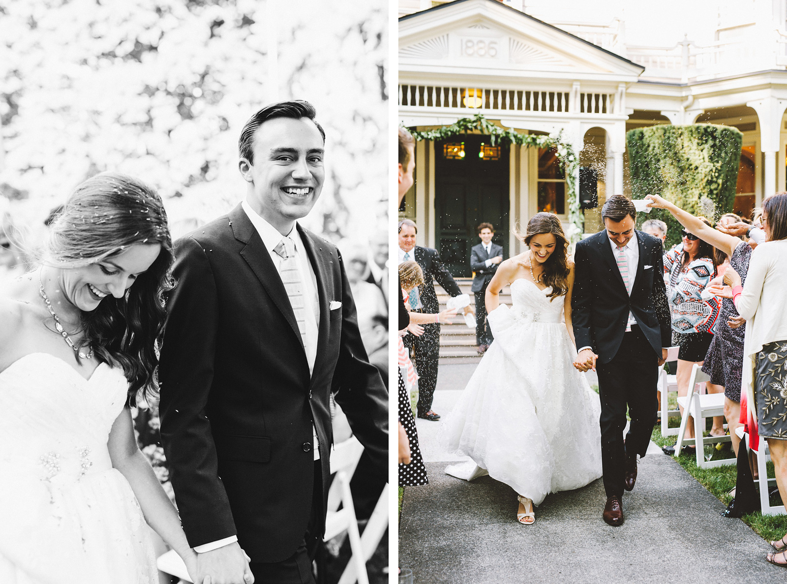 Bride and Groom exiting the Marshall House | Fort Vancouver Wedding in Washington