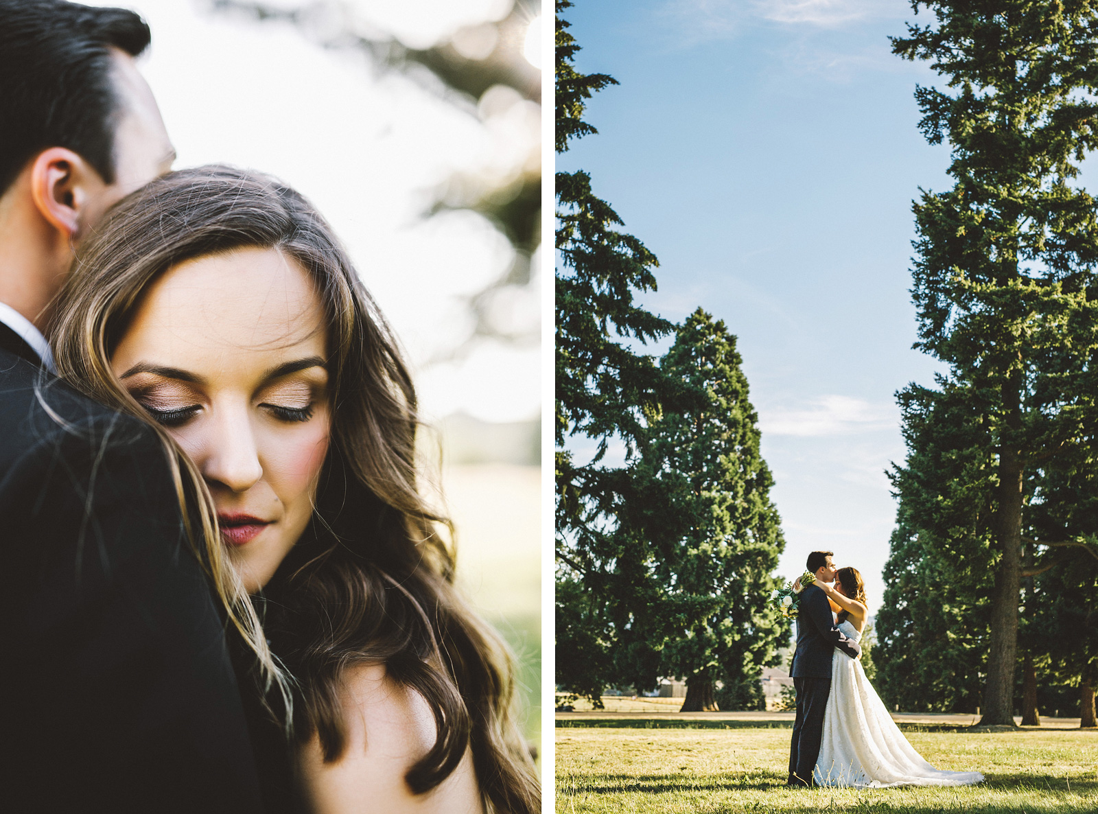 Bride and Groom walking through the park | Fort Vancouver Wedding in Washington