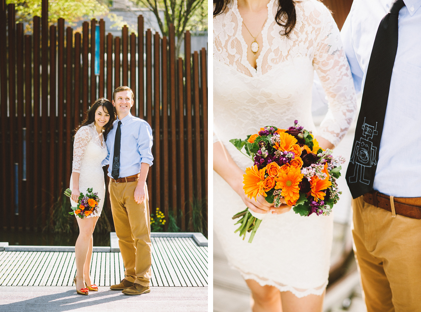 Portraits of Bride and Groom at Tanner Springs Park | Portland Courthouse Wedding