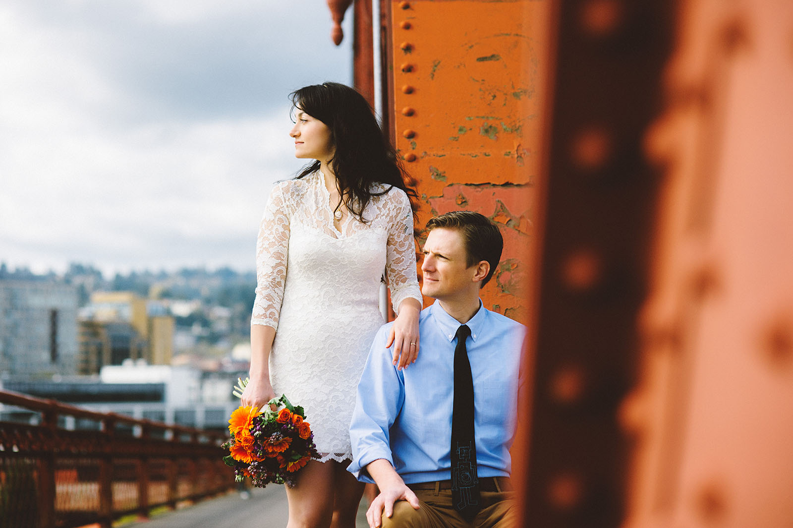 Portrait of Bride and Groom on the Broadway Bridge | Portland Courthouse Wedding