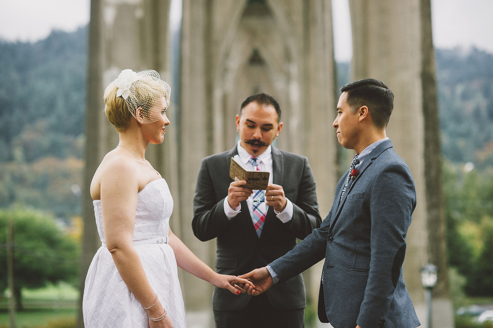 Wedding ceremony in Cathedral Park | Portland Oregon Elopement