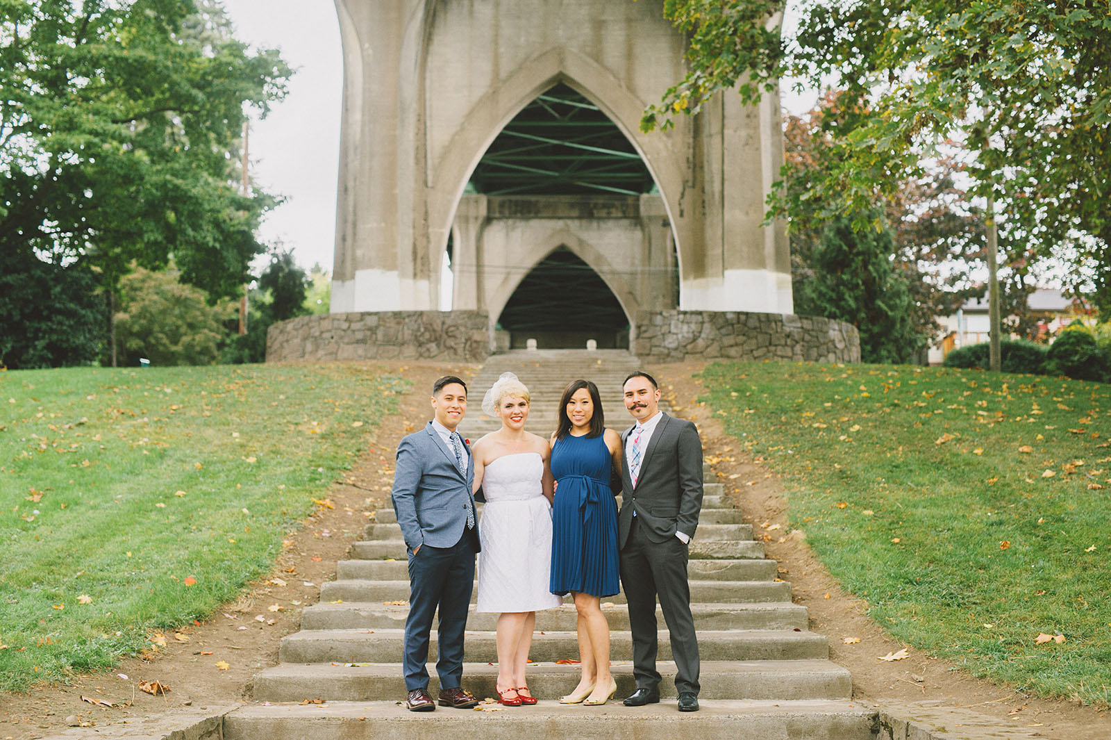 Group photo on the Cathedral Park staircase | Portland Oregon Elopement