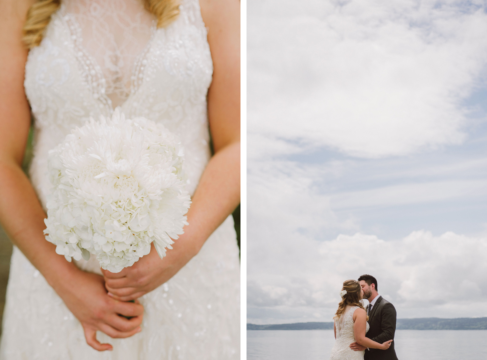 Portraits of bride and groom at Cama Beach State Park | Camano Island Wedding