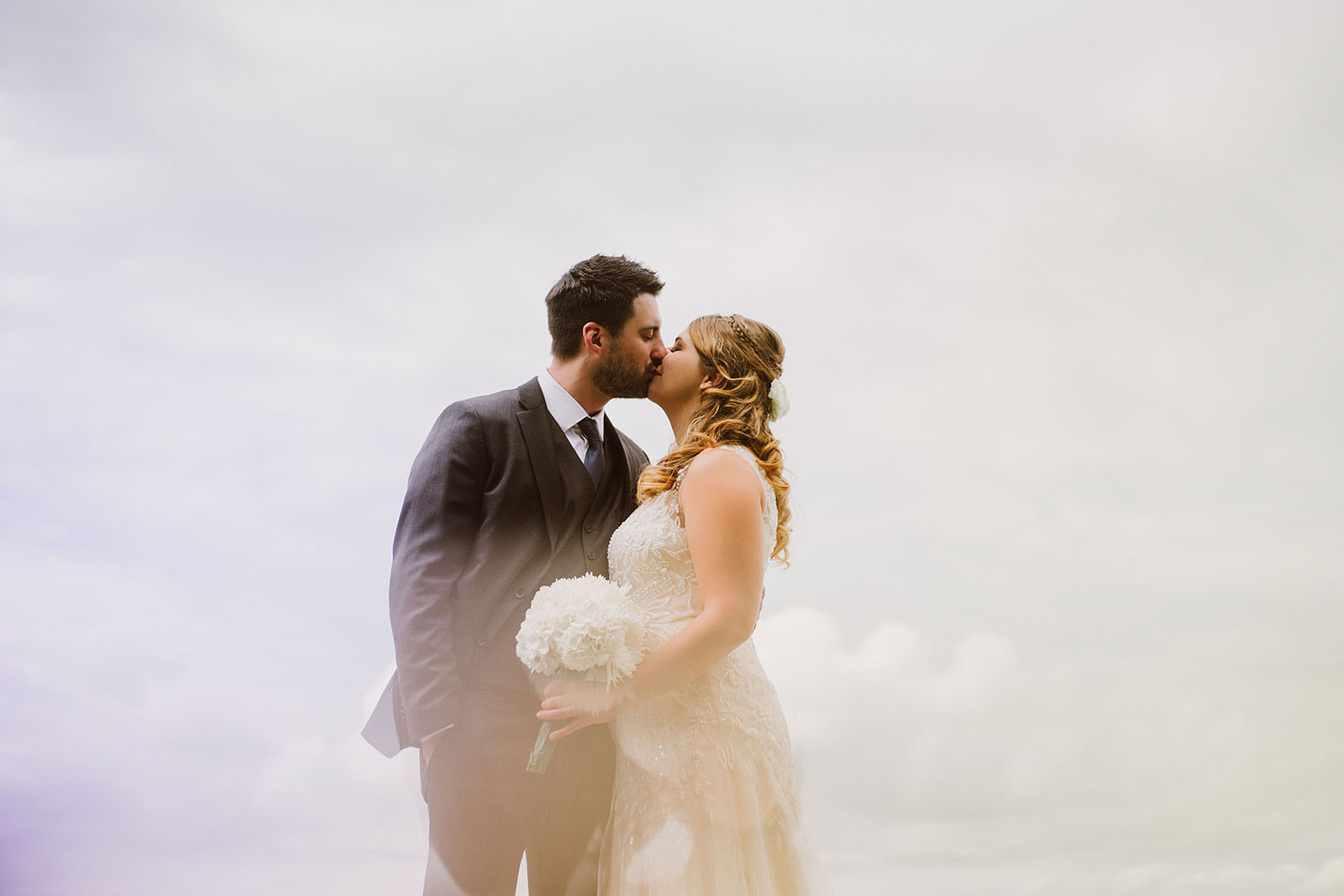 Bride and Groom kissing | Camano Island Wedding