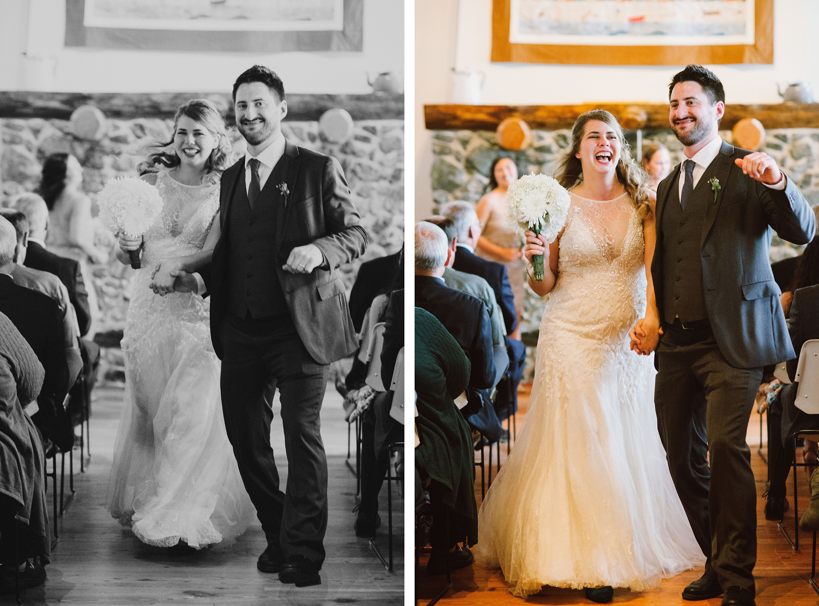 Bride and Groom dancing down the aisle after the ceremony | Camano Island Wedding