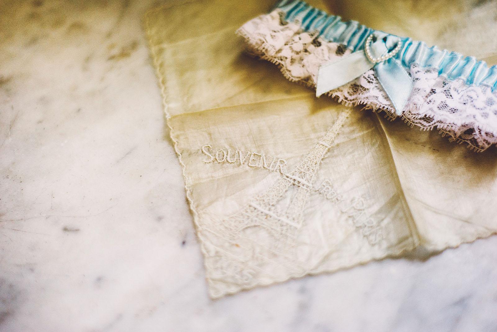 Bride's handkerchief and garter | Old Church Wedding Photos