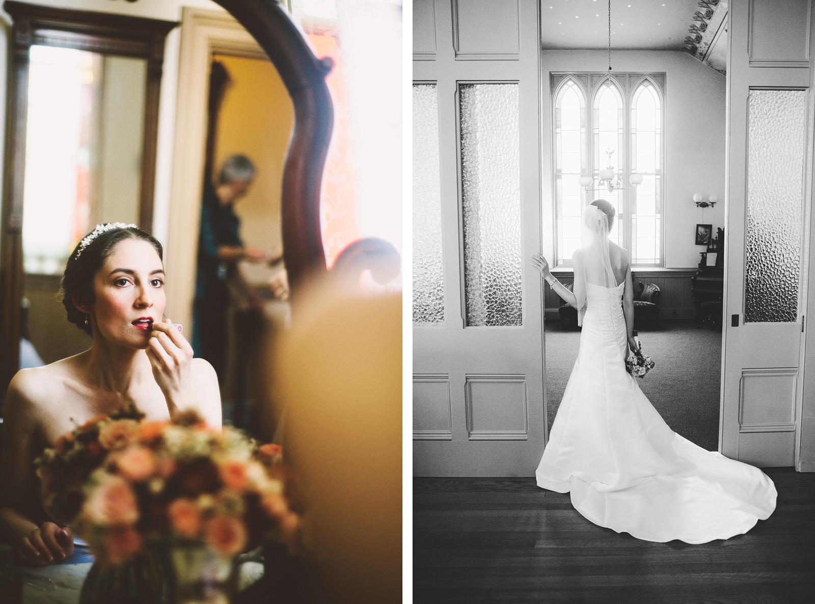 Portraits of bride getting ready | Old Church Wedding Photos