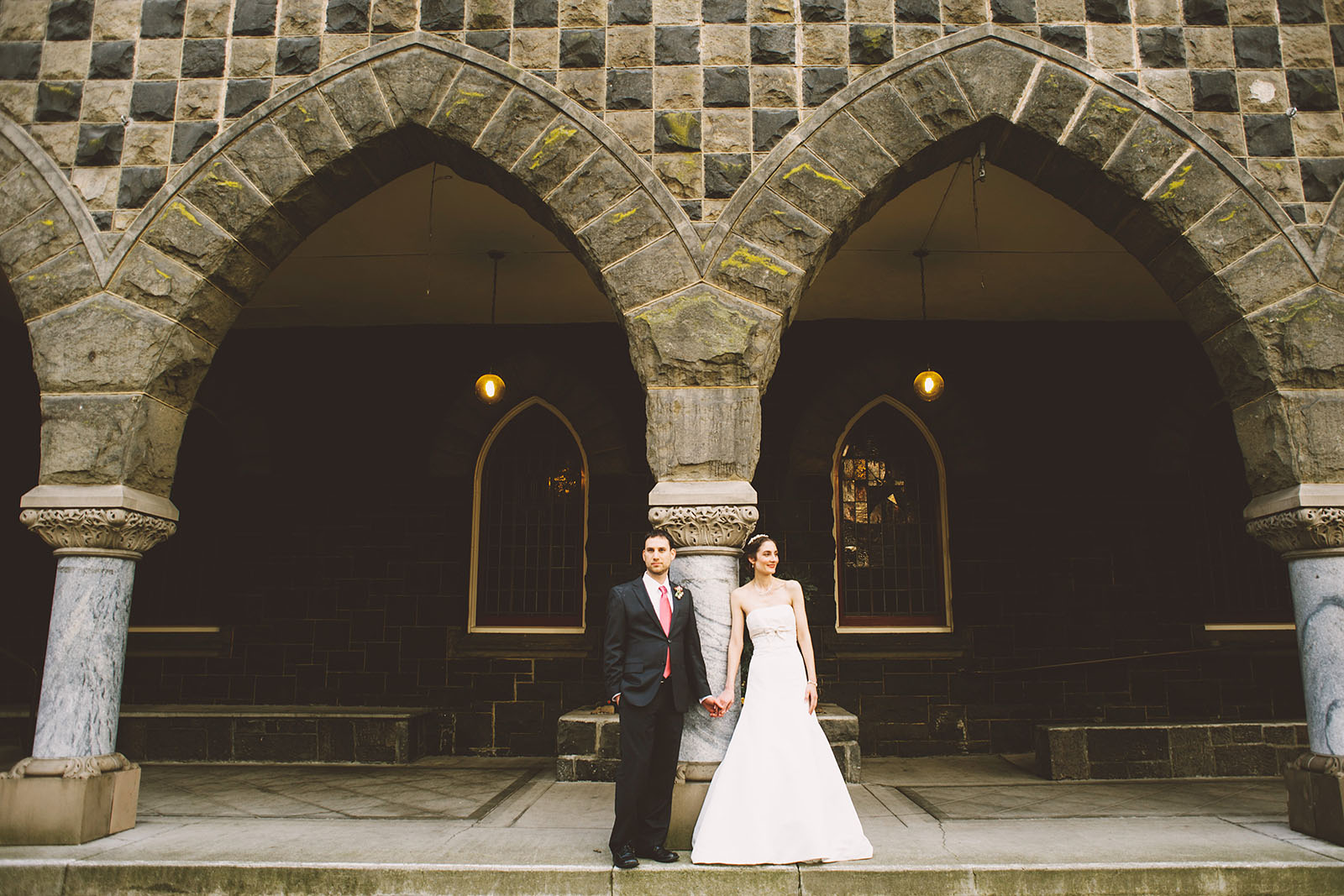 Portrait of Bride and Groom in Downtown Portland | Old Church Wedding Photos