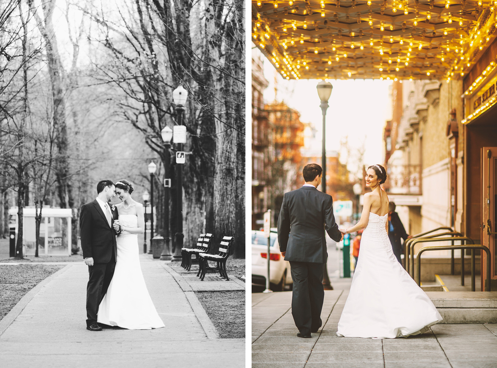 Bride and Groom walking through South Park Blocks in Downtown Portland | Old Church Wedding Photos