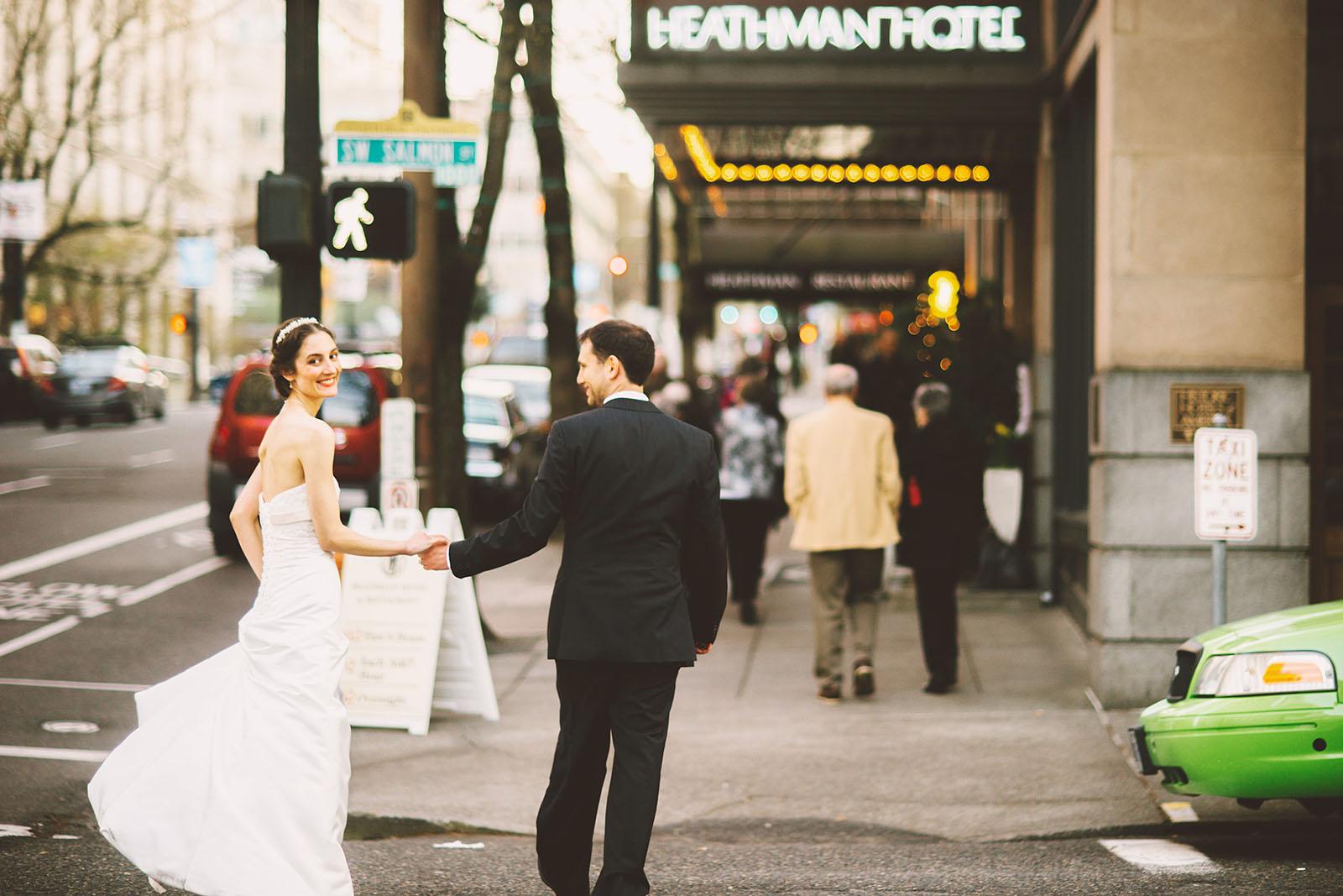 Couple entering the Heathman Hotel on their wedding night | Old Church Wedding Photos