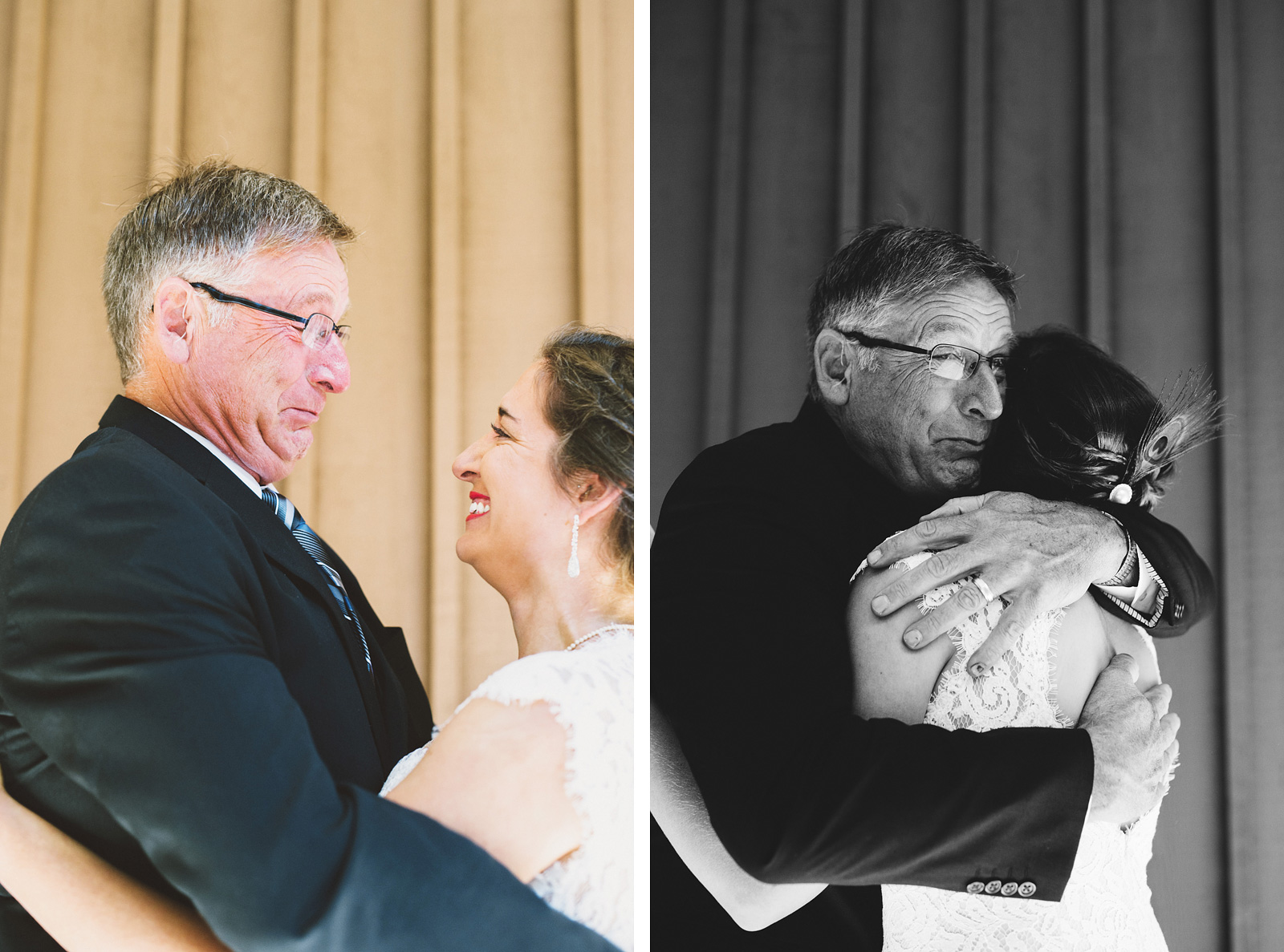 Bride's First Look with her father | Mazama Lodge Wedding
