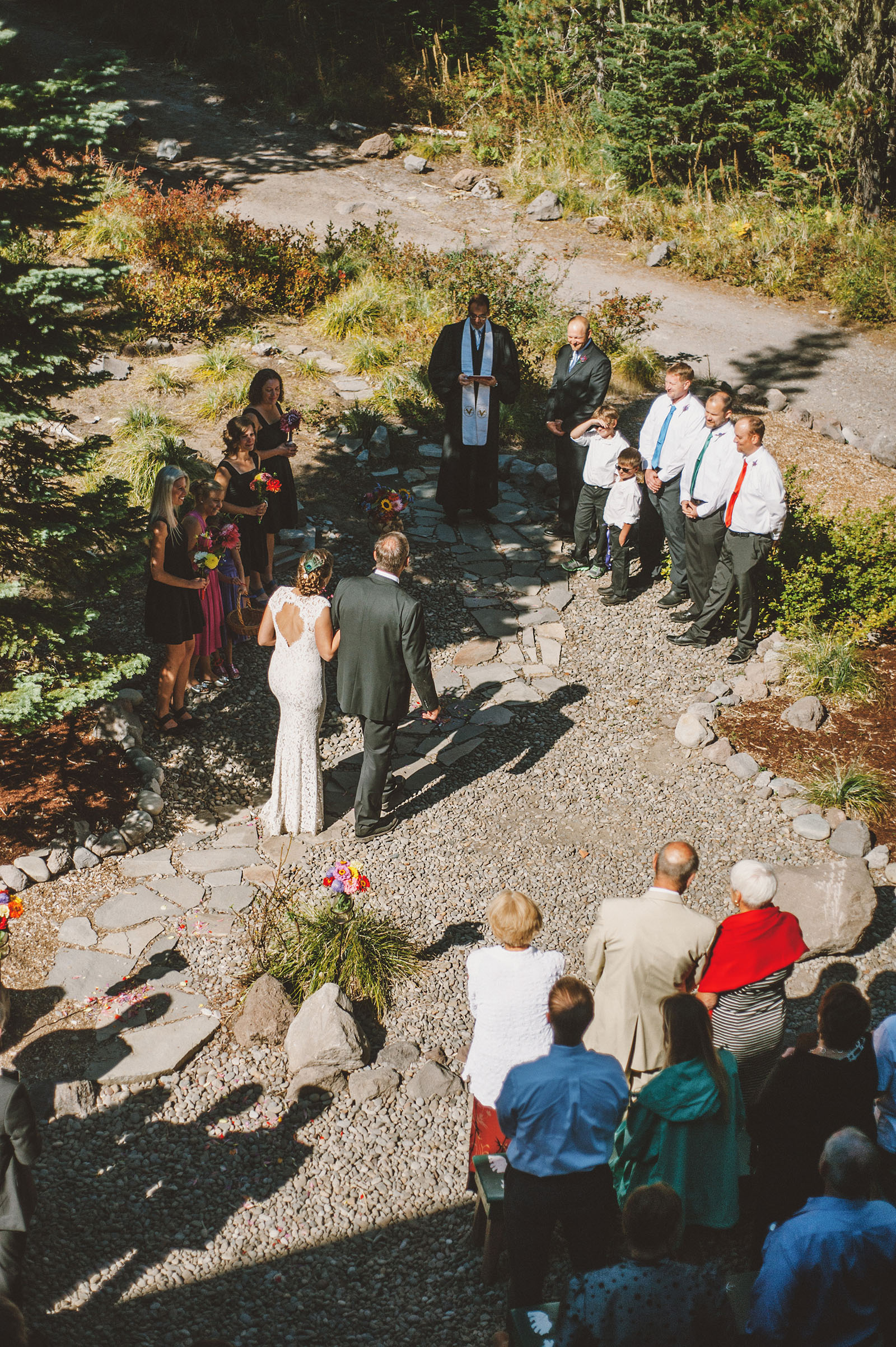 Bird's eye view of the ceremony | Mazama Lodge Wedding