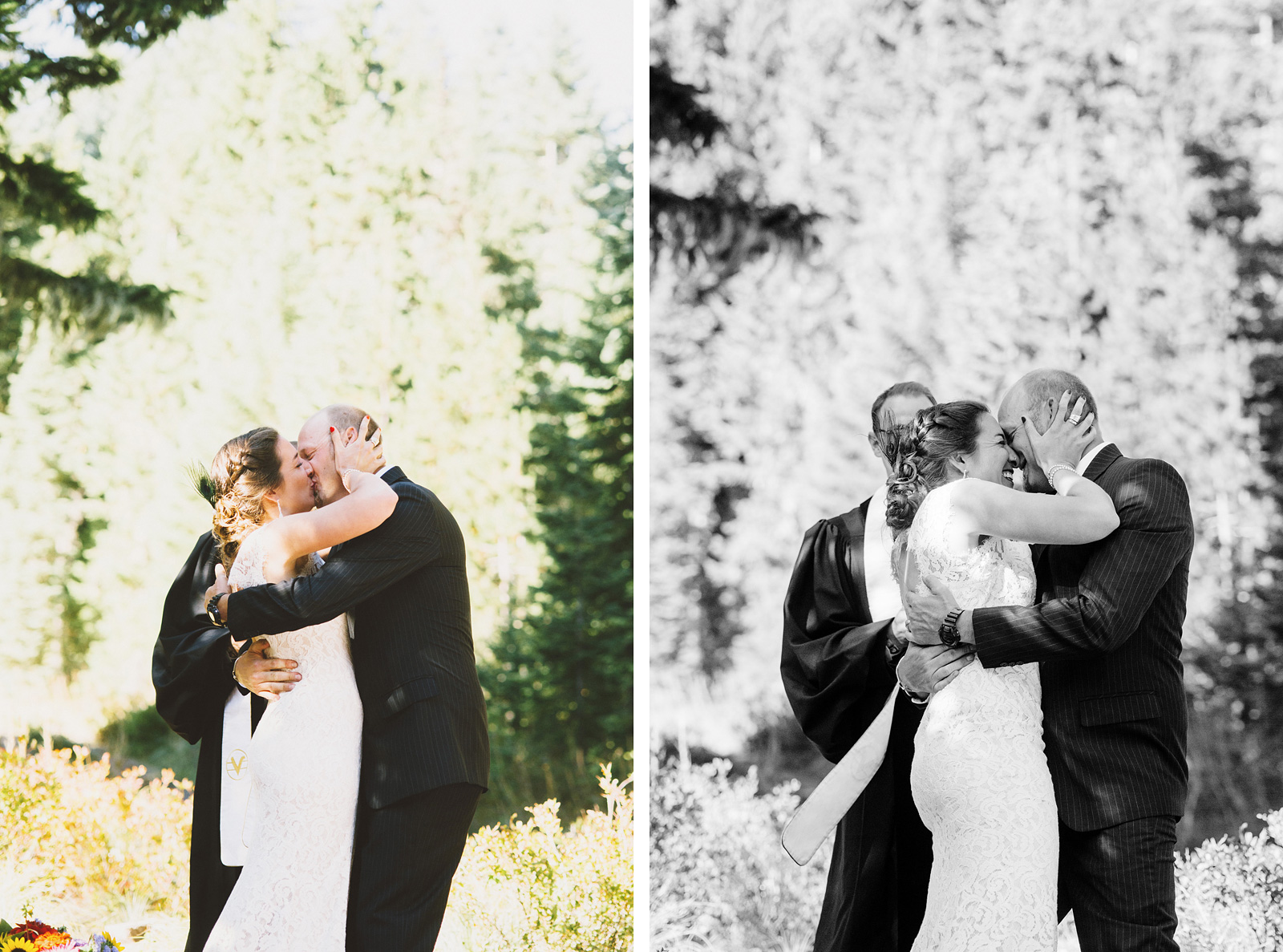 Bride and Groom's first kiss | Mazama Lodge Wedding