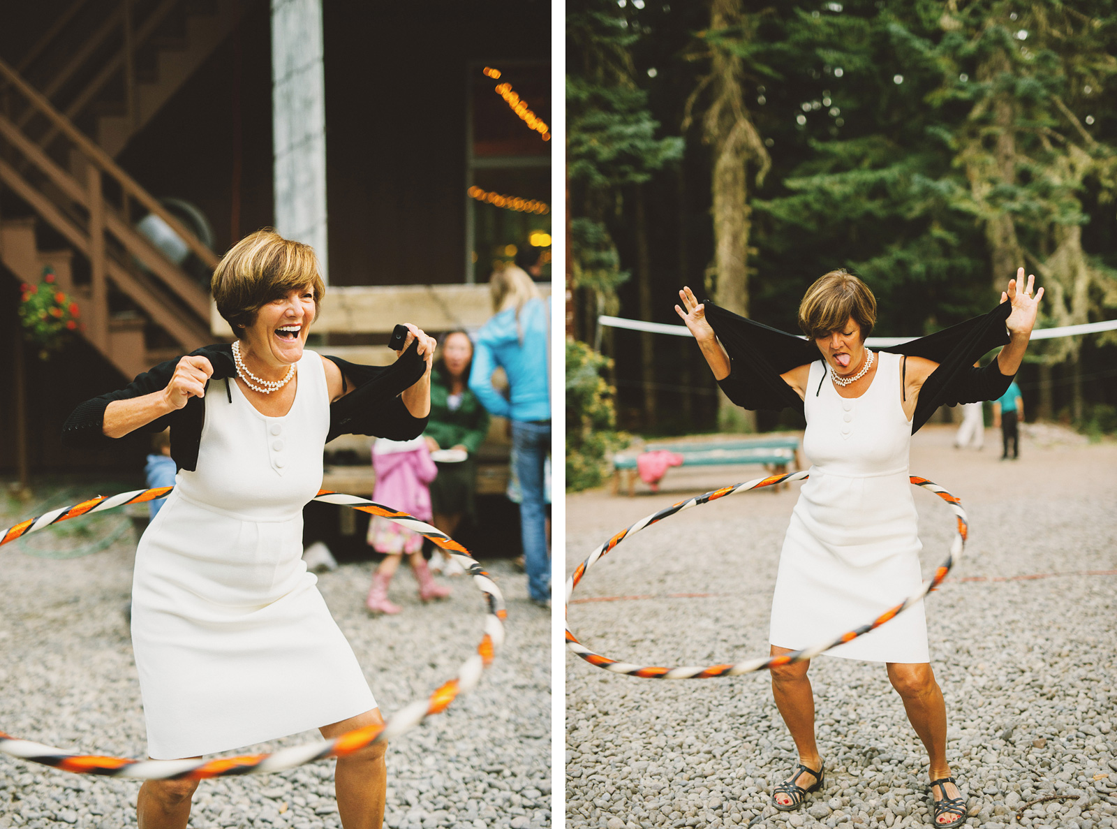 Wedding guests hula hooping at the reception | Mazama Lodge Wedding