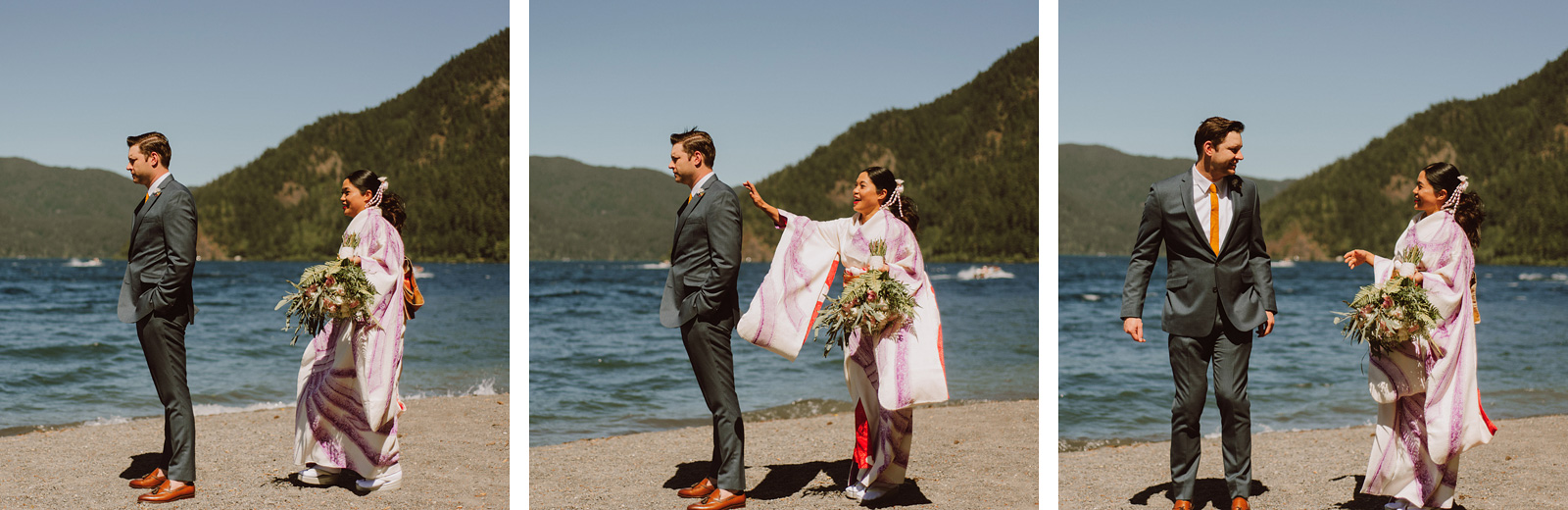Bride and Groom's First Look on Lake Crescent | Olympic National Park Wedding