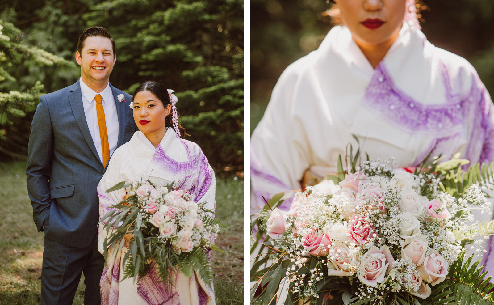Portraits of bride and groom in the forest trail | Olympic National Park Wedding