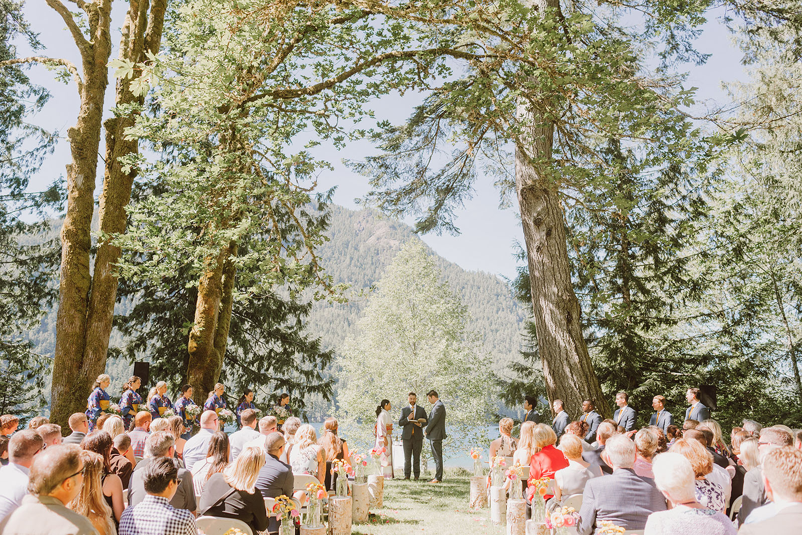 Wide shot of ceremony on the waterfront | Olympic National Park Wedding