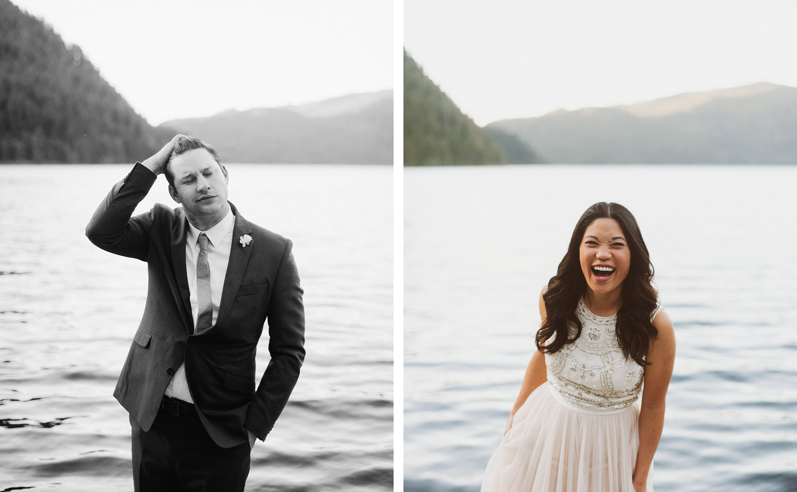 Portraits of bride and groom on Lake Crescent | Olympic National Park Wedding
