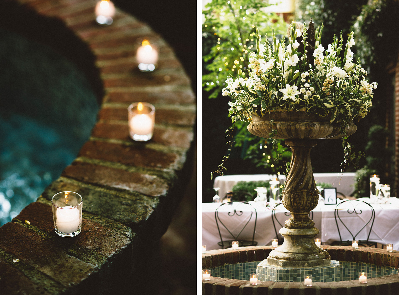 Water fountain and candles | Sacramento Firehouse Wedding