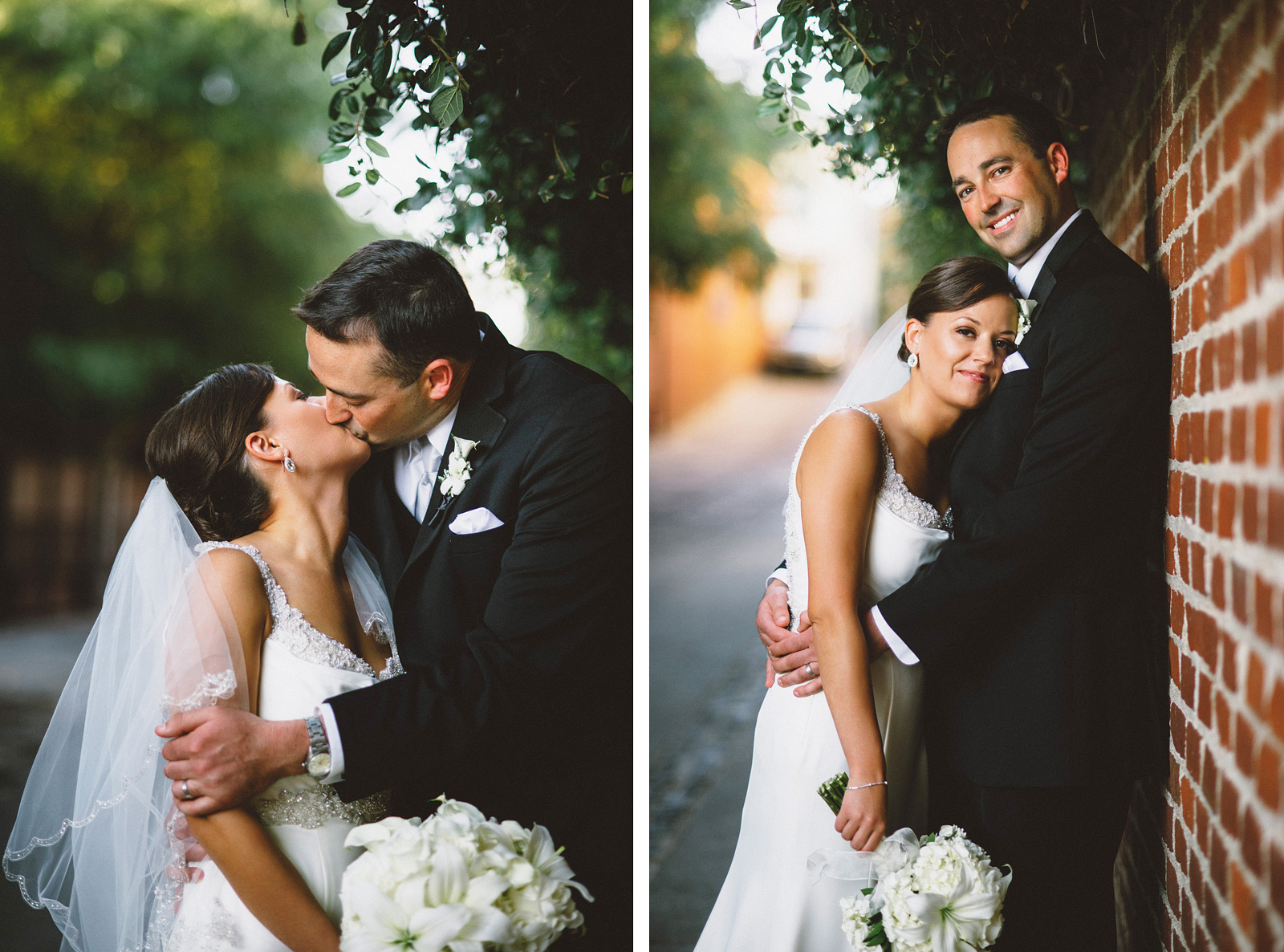 Portraits of bride and groom in the alleyway | Sacramento Firehouse Wedding