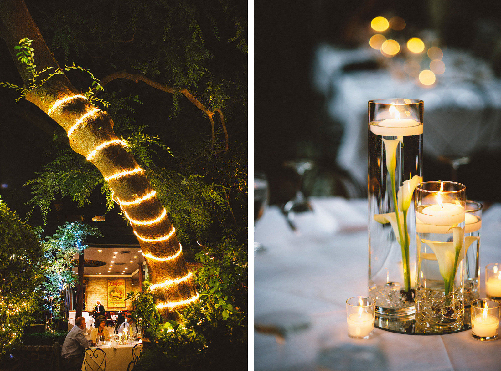 Candles and market light decor | Sacramento Firehouse Wedding