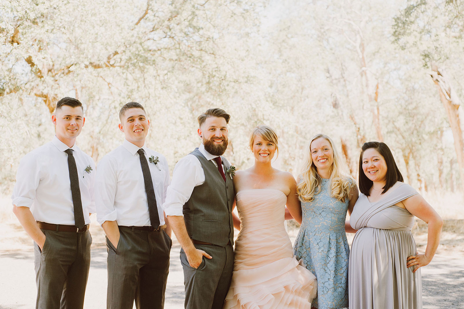 Wedding Party group photo in Bidwell Park | Backyard Chico California Wedding