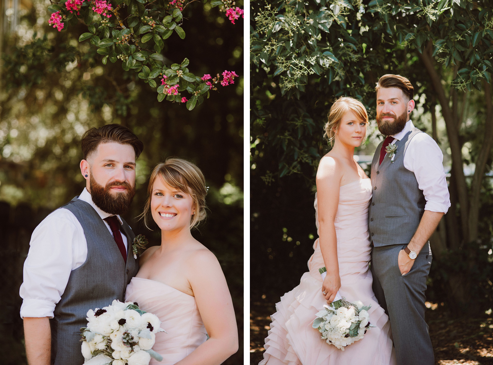 Portraits of Bride and Groom at their home | Backyard Chico California Wedding