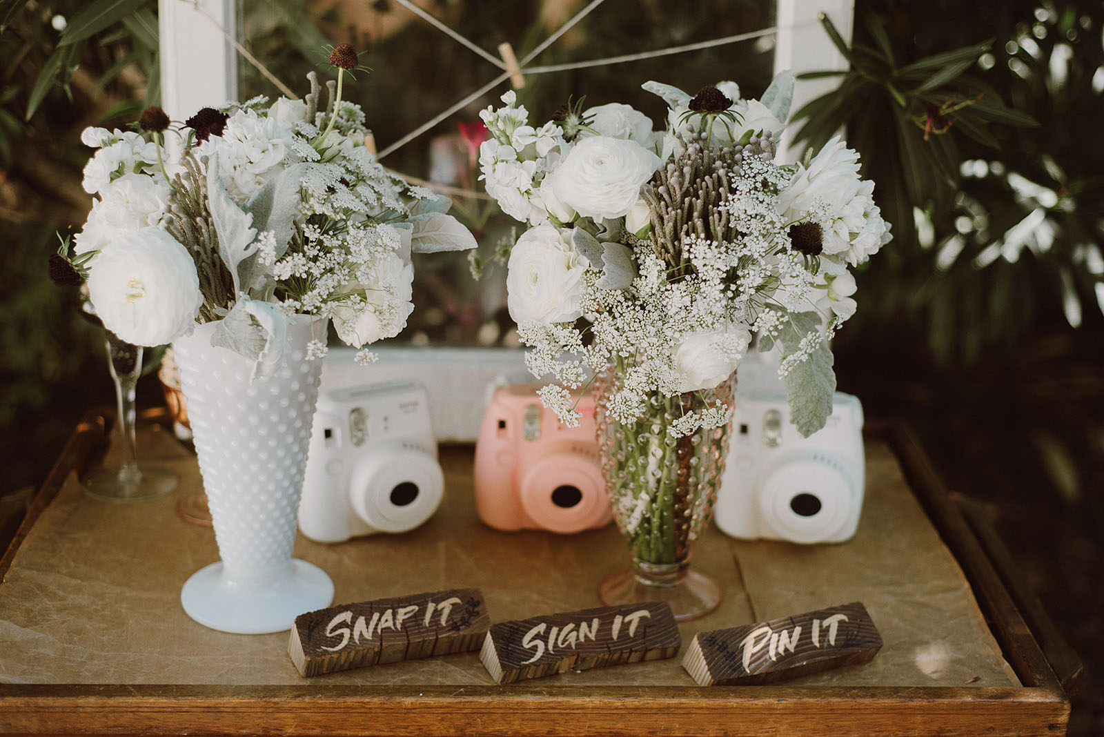 Instax Guestbook Table Settings | Backyard Chico California Wedding