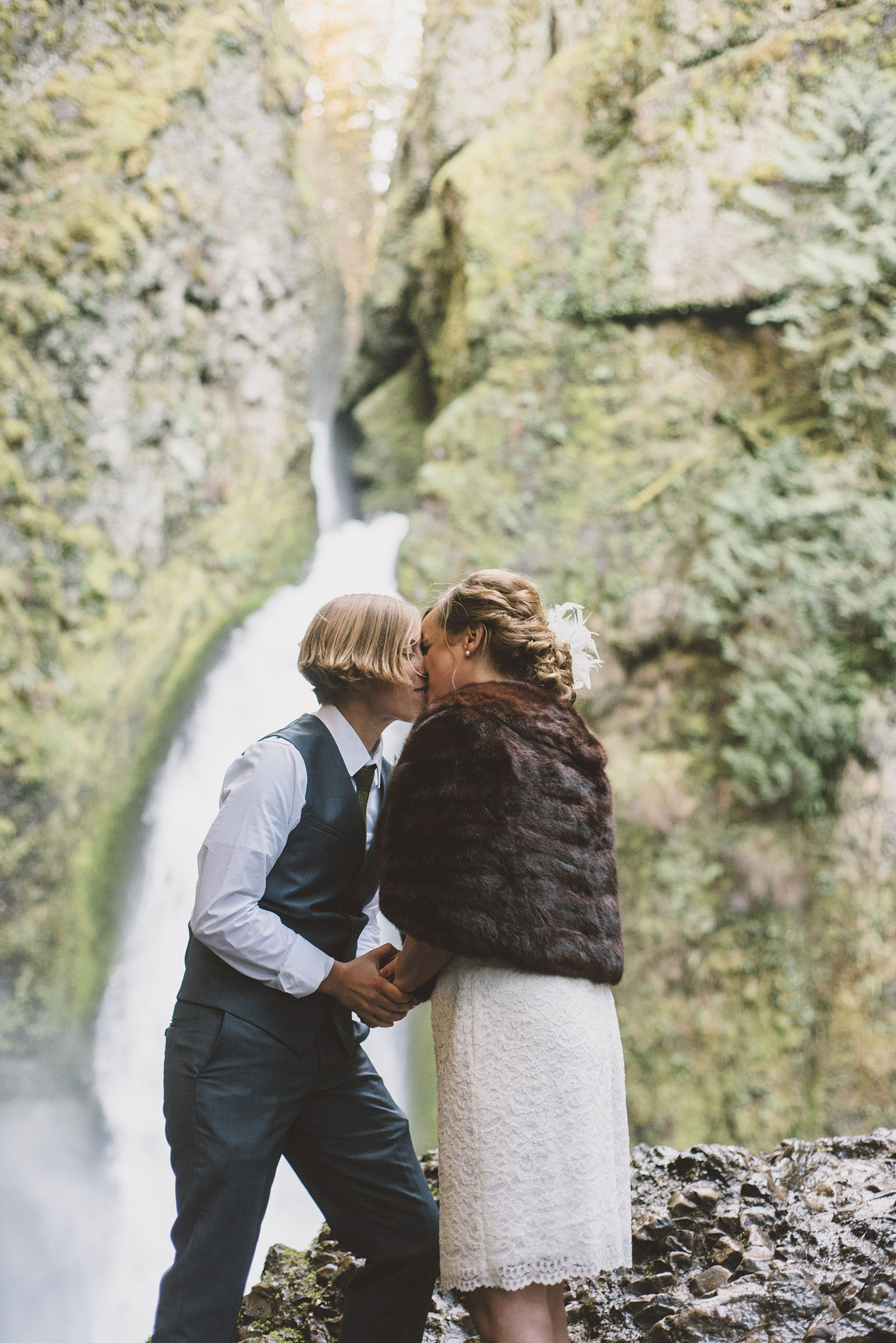 Brides first kiss | Wahclella Falls Wedding