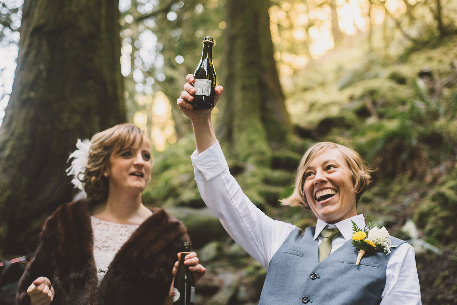 Champagne toast after the ceremony | Wahclella Falls Wedding