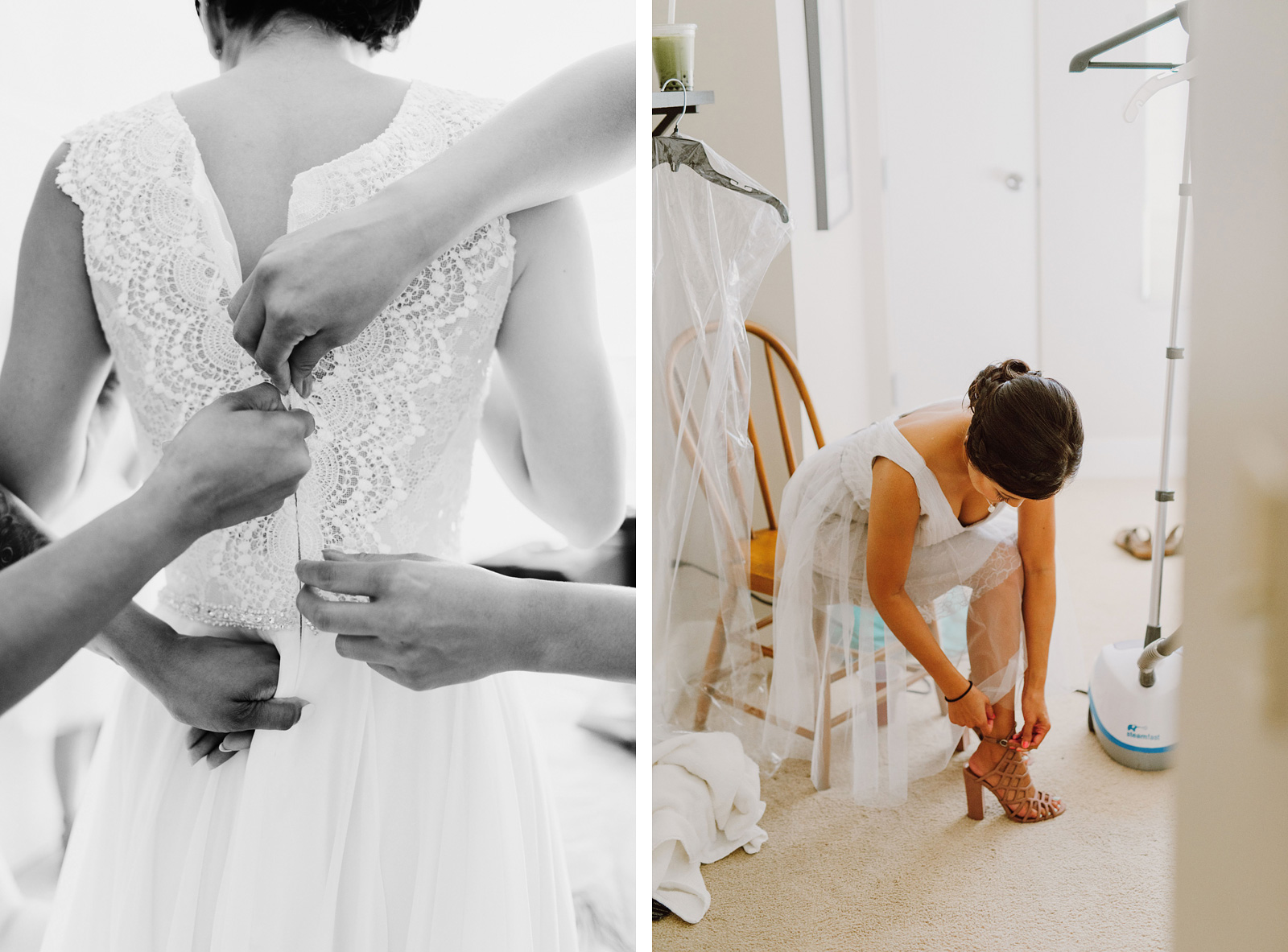 Bride and bridesmaids getting dressed | Portland Castaway Wedding