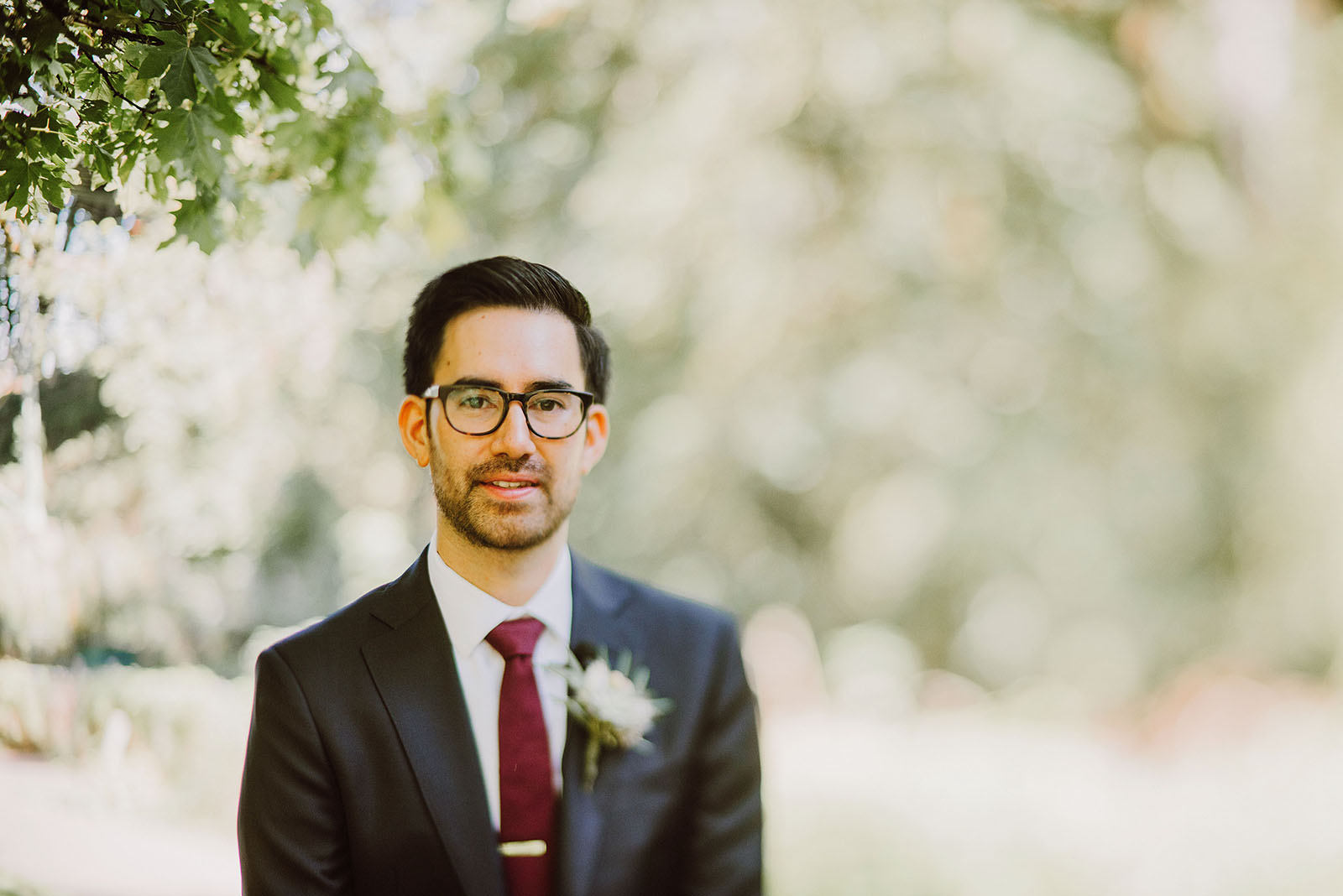 Groom waiting for the First Look in Macleay Park | Portland Castaway Wedding