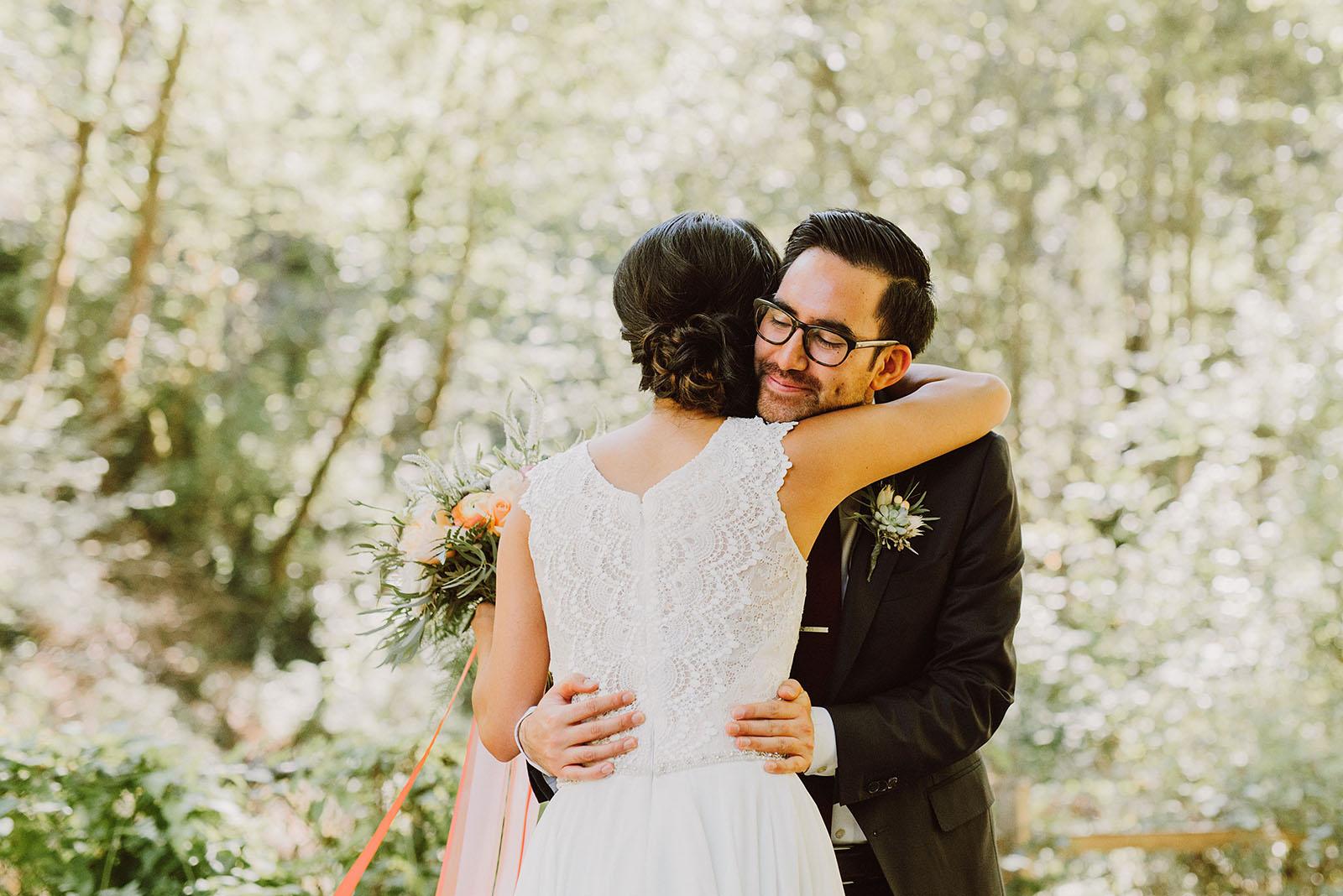 Bride and Groom's First Look in MacLeay Park | Portland Castaway Wedding