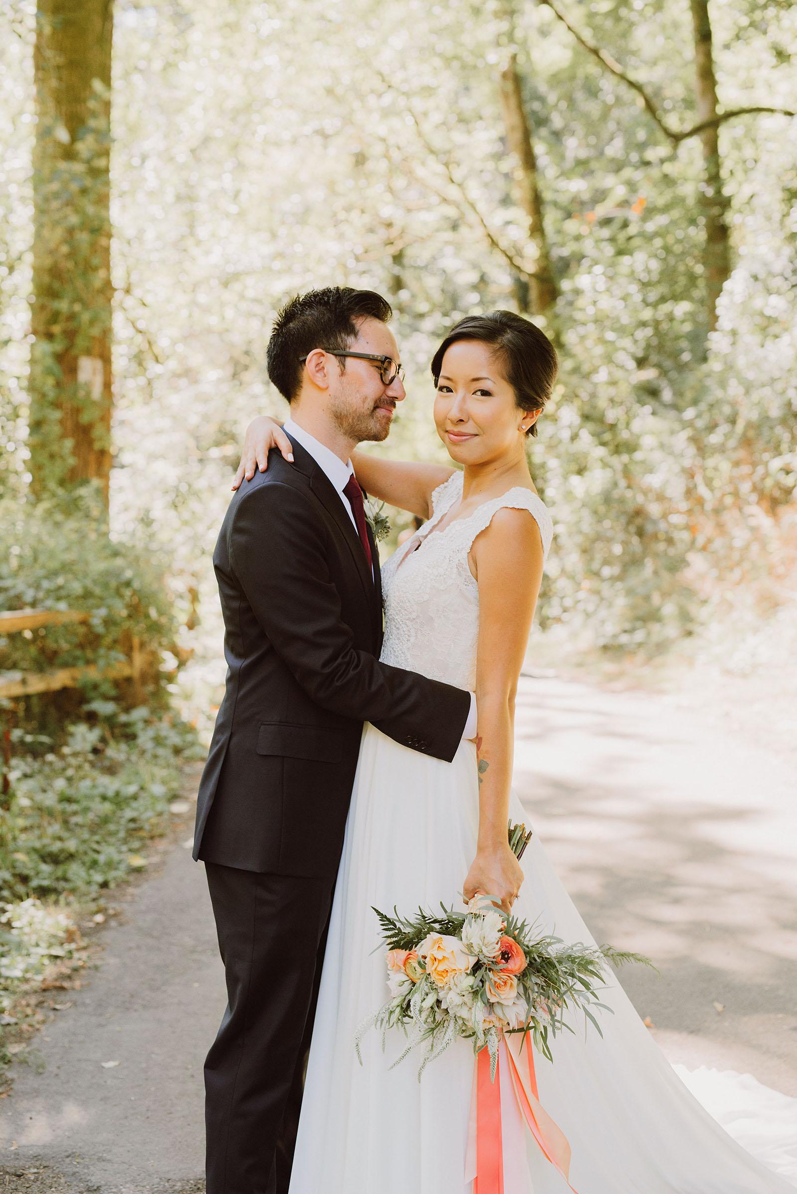 Portrait of bride and groom in Macleay Park | Portland Castaway Wedding